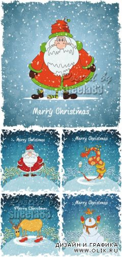 Funny Christmas Cards Vector 2