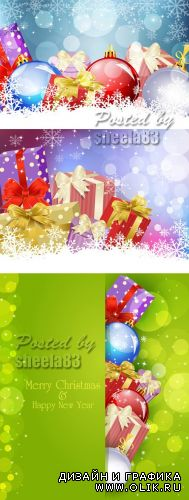 Color Xmas Cards Vector