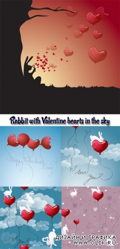 Stock: Rabbit with Valentine hearts in the sky