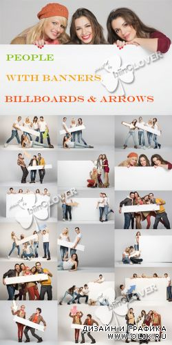 People with banners, billboards and arrows 0366
