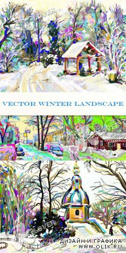 Vector winter landscape 0367