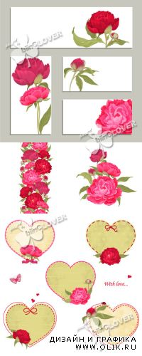 Background and frame with peonies 0372