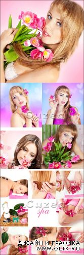 Beautiful spring girls and Spa - Stock photo