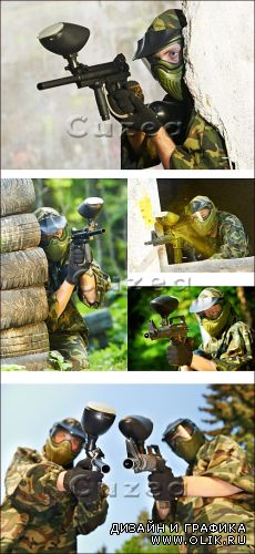 Взрослые игры/  Paintball player - Stock photo