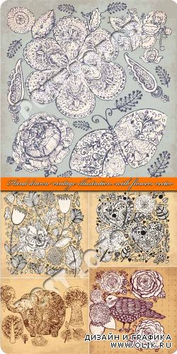 Винтажные рисунки цветы | Hand drawn vintage illustration with flowers vector