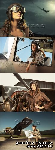 Женщина авиатор/ Stock photo Woman aviator