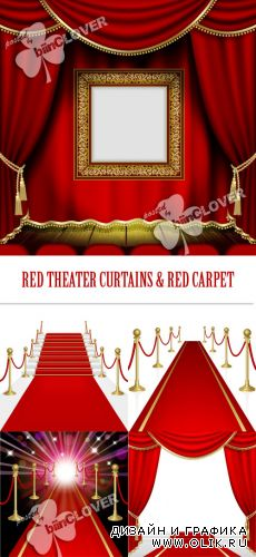 Red theater curtains and red carpet 0386