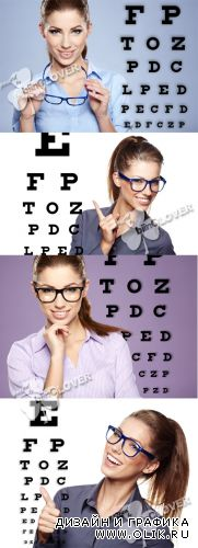 Woman with glasses and eye test chart 0394