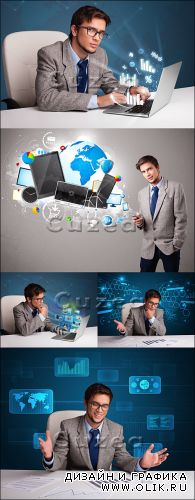 Stock photo - Молодой мужчина с компьютером и диаграммами/  Young man sitting at desk and typing on laptop with diagrams