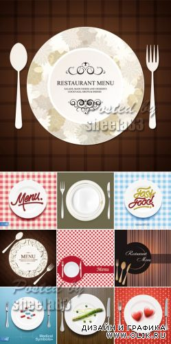 Restaurant Menu with Plates Vector