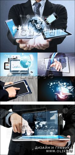 Руки и сенсорная панель/ Hands on a panel touchscreen - Stock photo