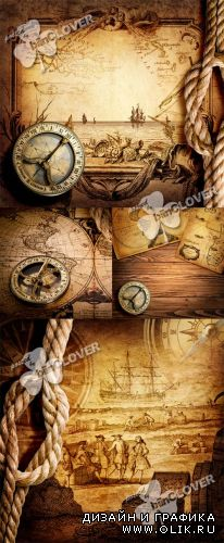 Old compass and vintage maps 0396