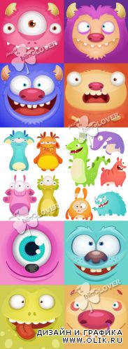 Set of cartoon monsters 0400