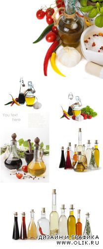 Stock Photo: Olive oil, spices and balsamic vinegar