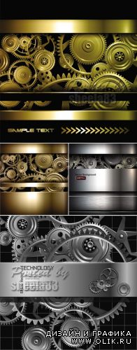Techno Metallic Backgrounds Vector