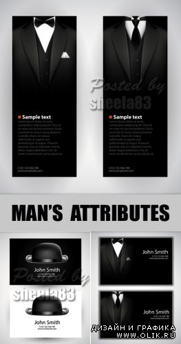 Man's Attributes Cards Vector
