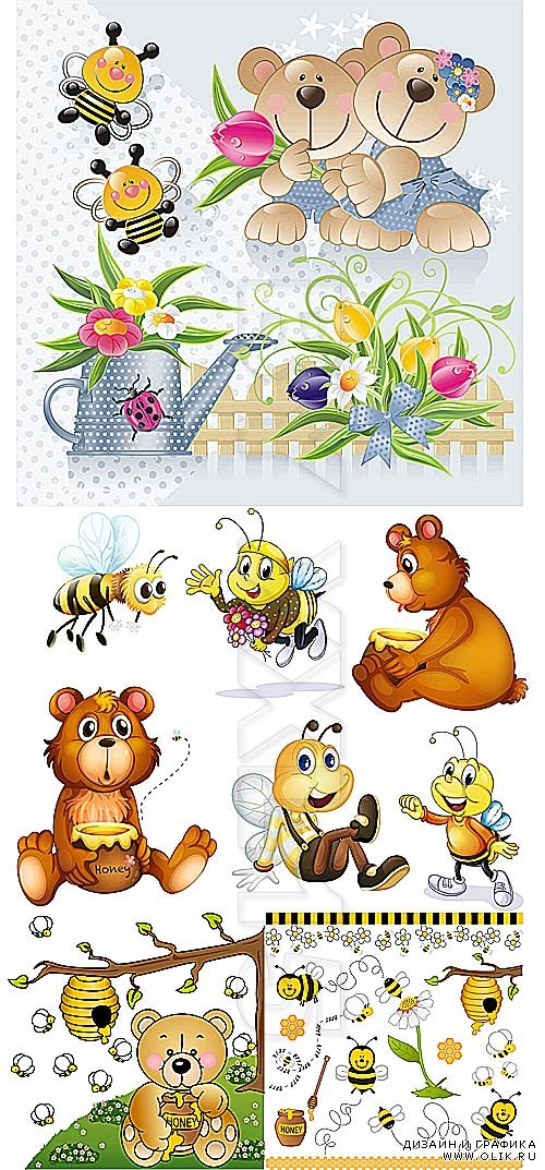 Cute bears and bees