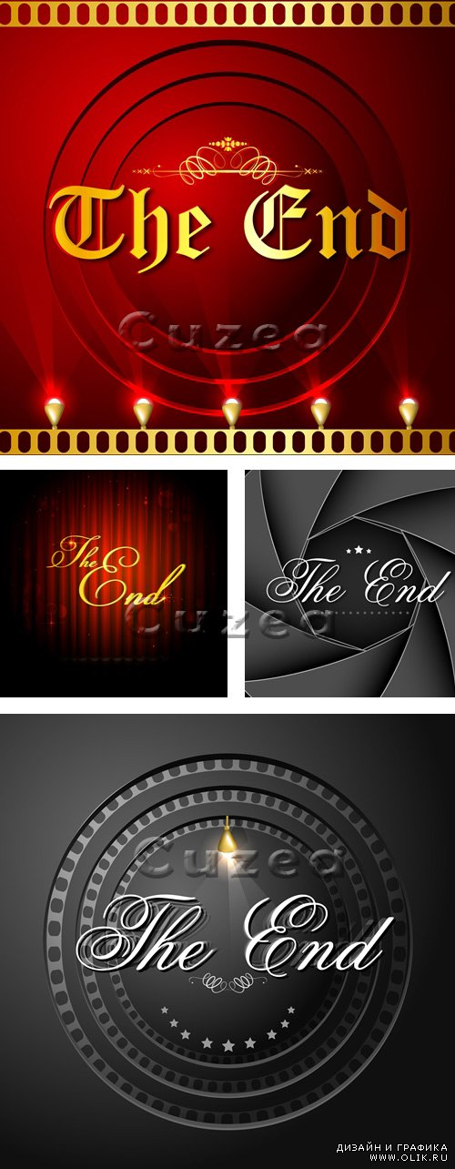 Надпись The End / Inscription the end on a red and black background in a vector