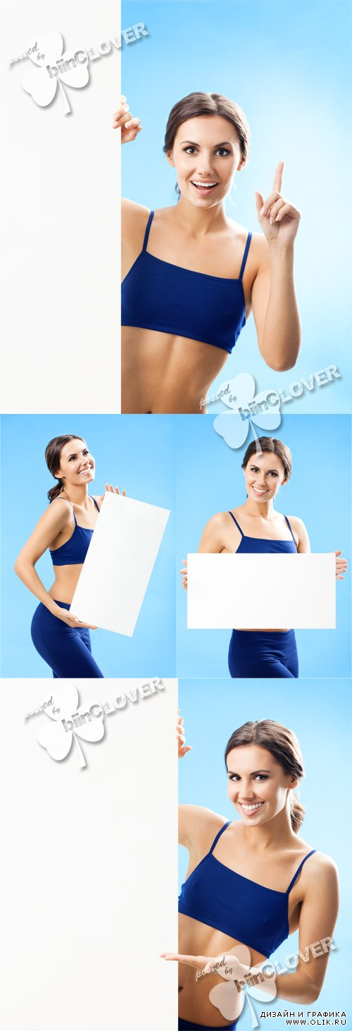 Fitness woman with blank signboard 0319
