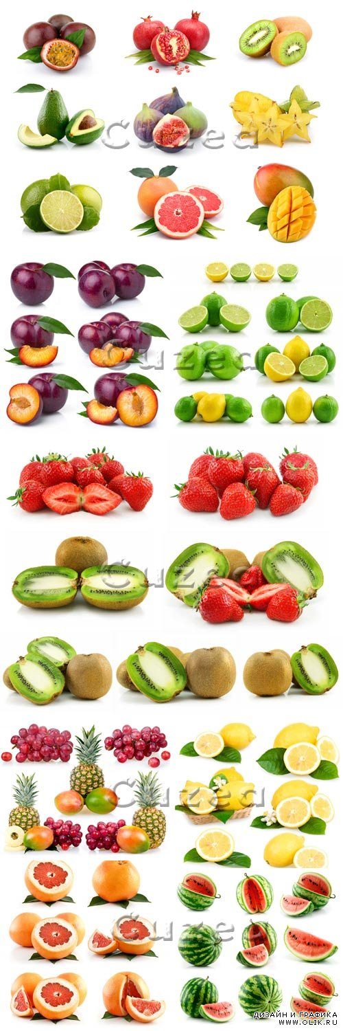 Фрукты на белом фоне/ Fruit on white background - stock photo