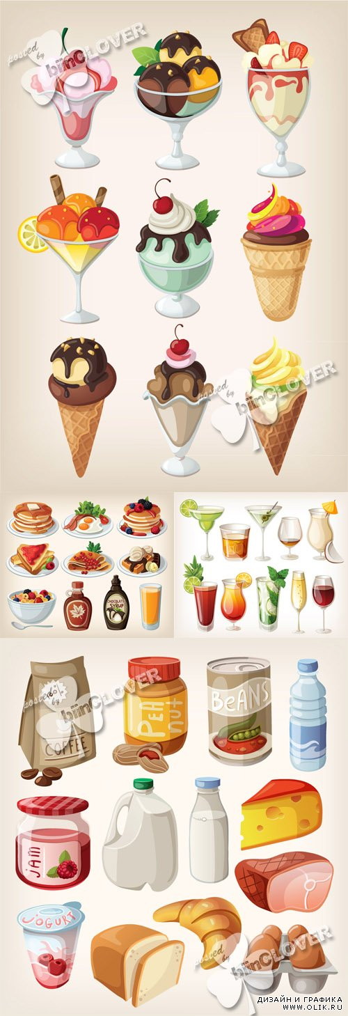 Collection of food products and drinks 0422