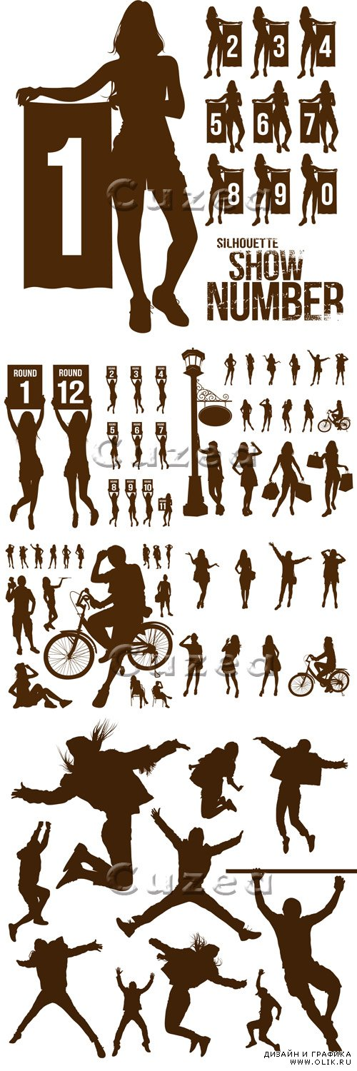 Силуэты людей, часть 3/ People silhouettes, part 3 - vector stock