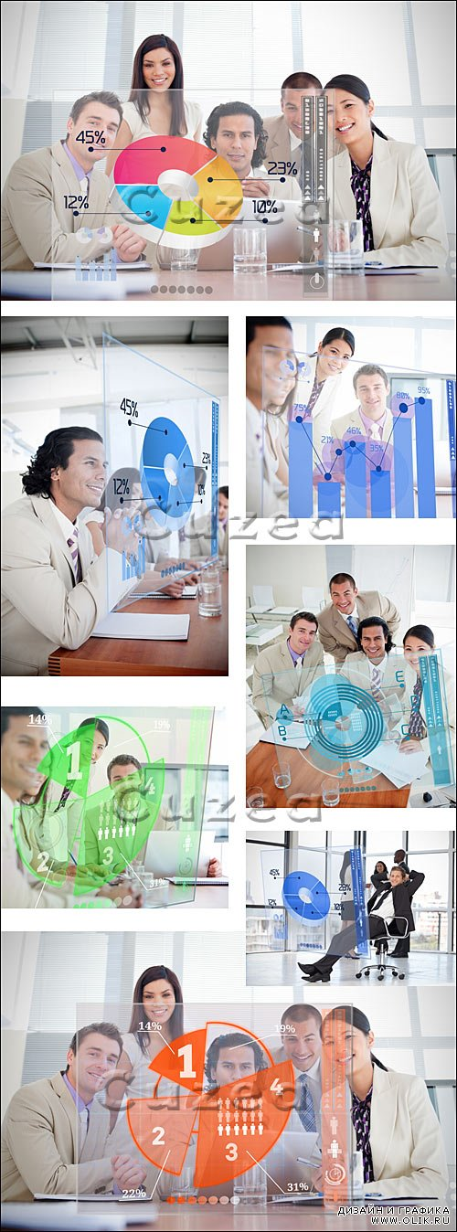 Бизнес команда в офисе / Smiling business workers - stock photo