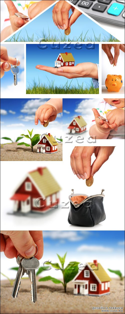 Коллажи домов в кредит / House purchase on credit - stock photo