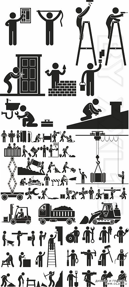 People figures pictograms 5 - Construction and repair