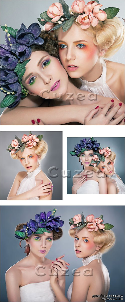 Девушки с венками / Two pretty nymphs in wreaths - stock photo