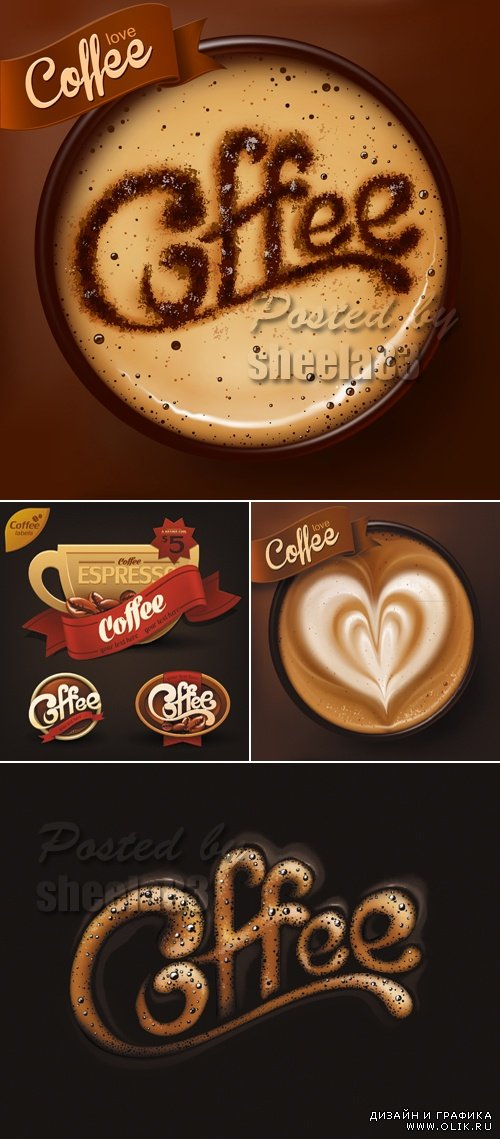 Coffee Cups & Labels Vector