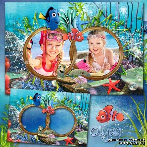 Детская морская рамка для фотошоп с героями м/ф «В поисках ...