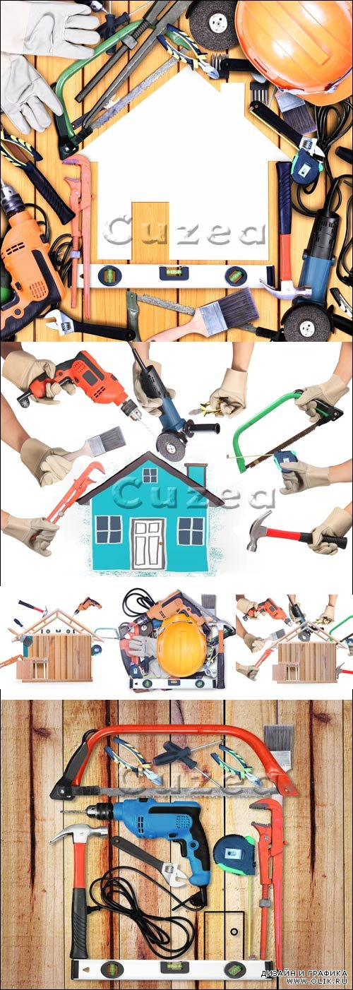 Выбор инструментов в форме дома / Selection of tools in the shape of a house - stock photo