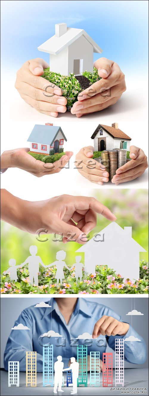 Руки и макет дома / Protect Your House in hand - stock photo