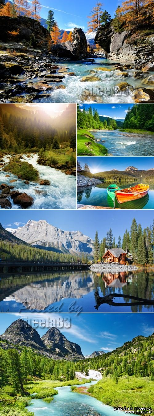 Stock Photo - Mountains & River