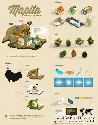 3D Isometric Map Mockup