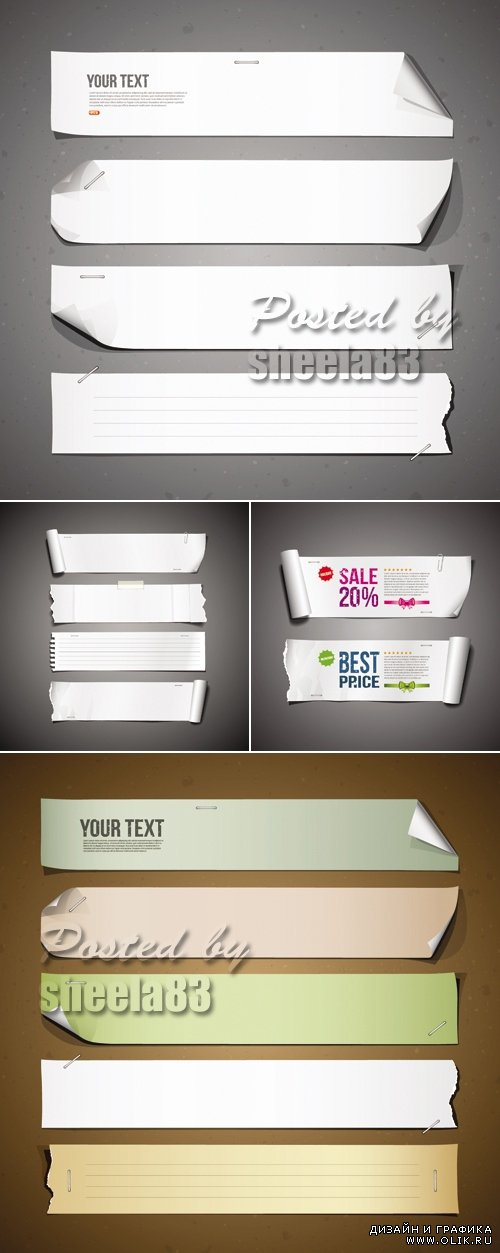Advertising Paper Banners Vector