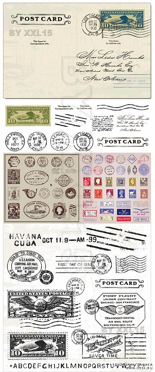 Vintage postcard and stamps