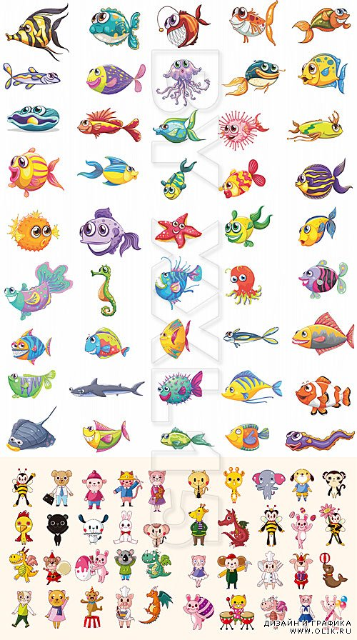 Cartoon fishes and animals