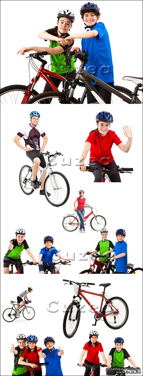 Велосипедисты на белом фоне / Young cyclists on a white background - stock photo
