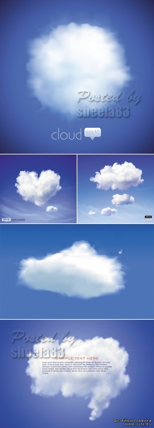 Blue Sky with Clouds Vector 2