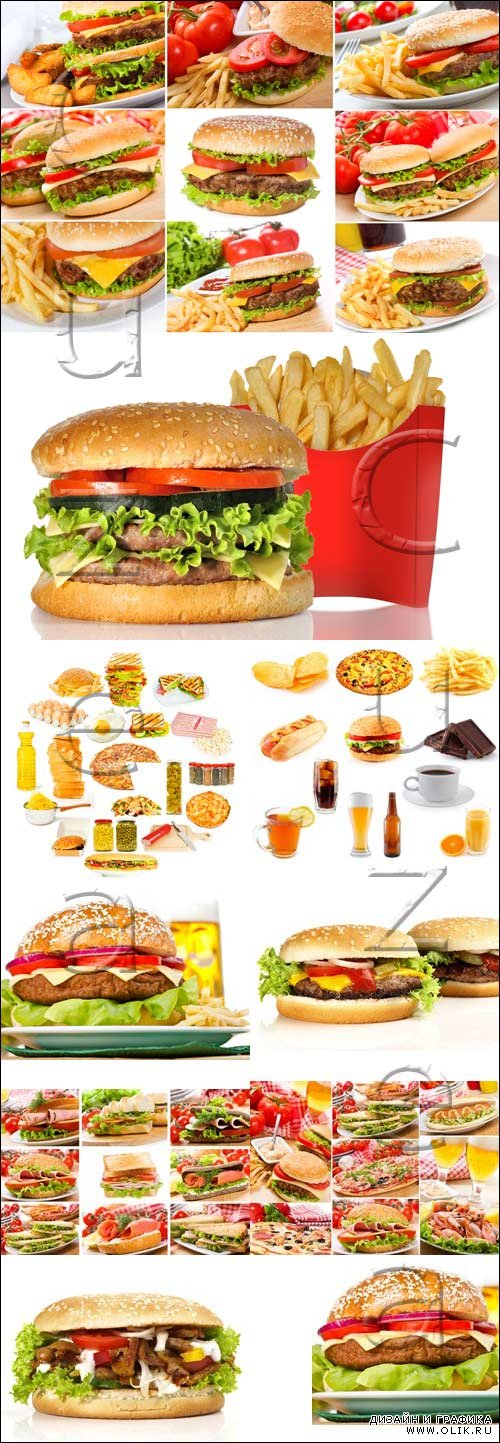 Фаст фуд коллаж / Fast food products - stock photo