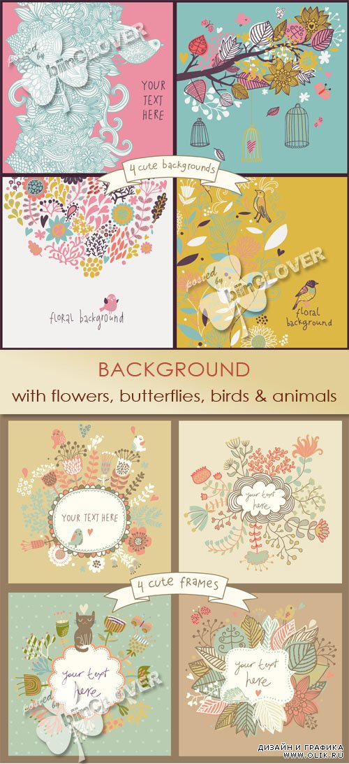 Background with flowers, butterflies, birds and animals 0454