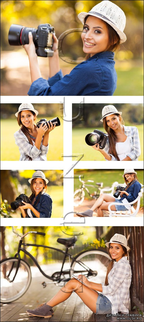 Young woman learning to use camera - stock photo