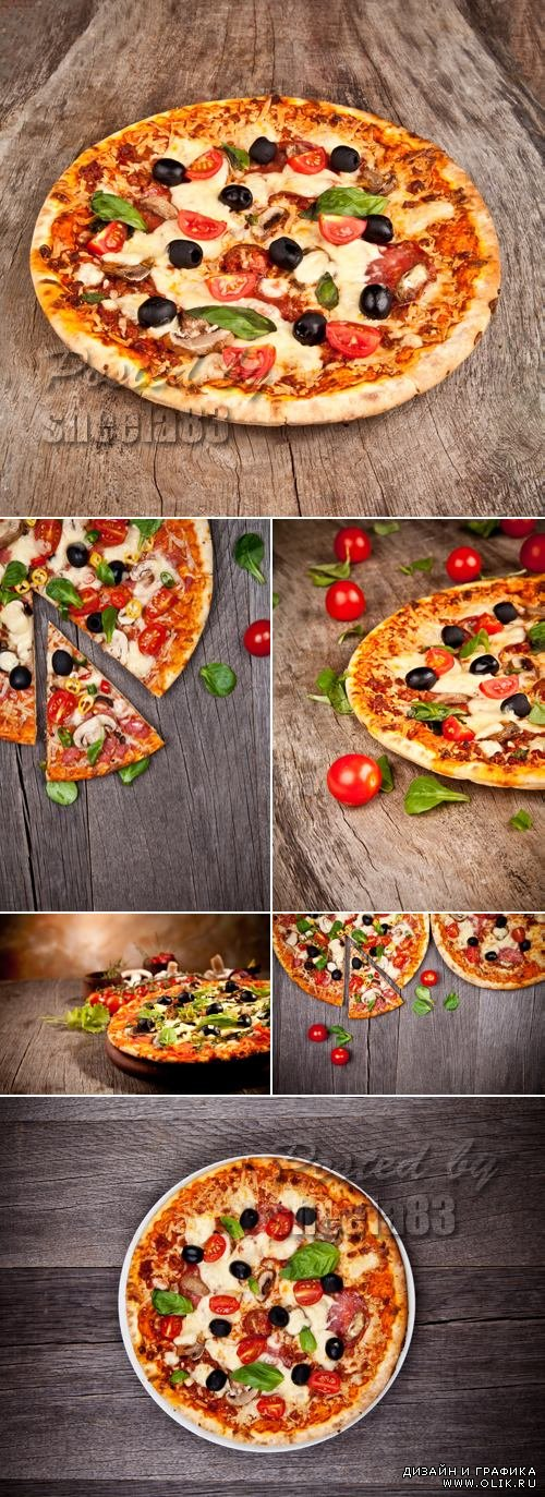 Stock Photo - Italian Pizza on Wooden Background