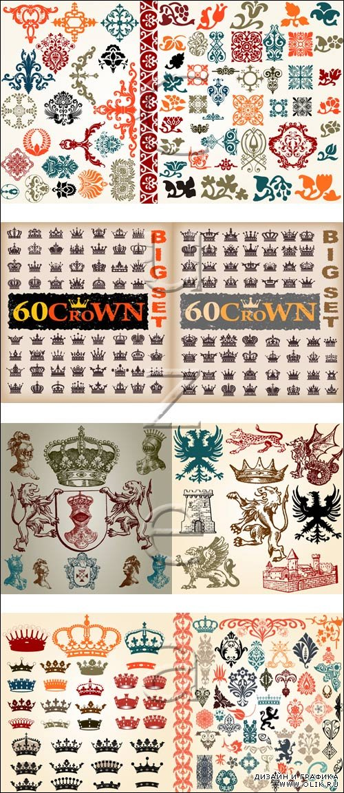 Crown and heraldic elements in vector