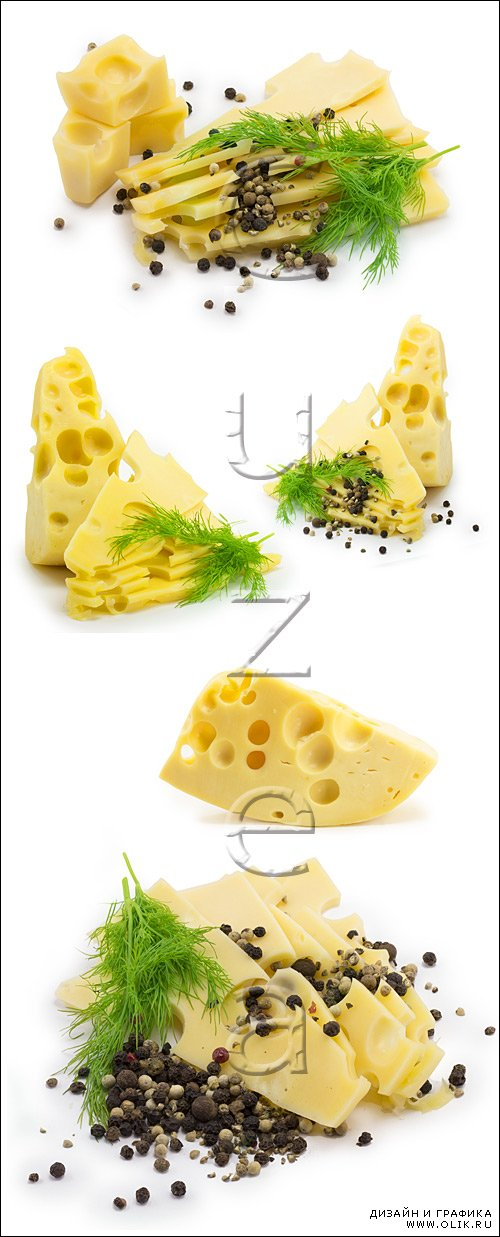 Сыр на белом фоне, 3 / Cheese, part 3 - stock photo