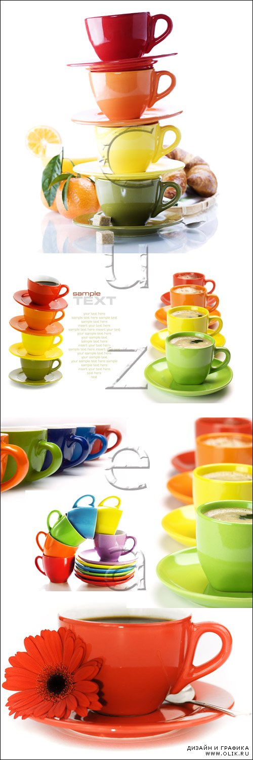 Цветные чашки и место для текста / Color cups and place for text - stock photo