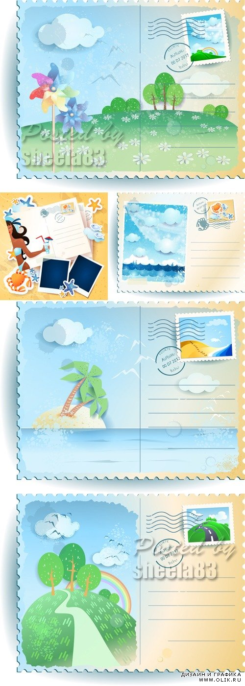 Nature Postcards Vector