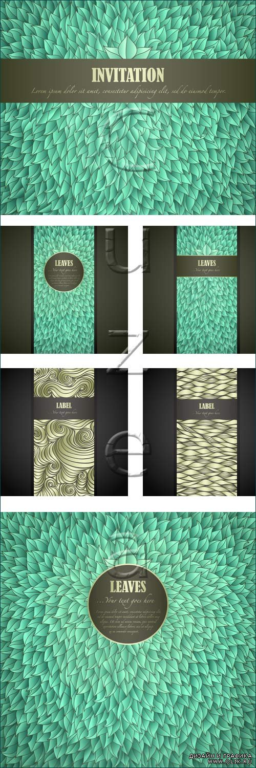 Vintage green backgrounds and banners - vector stock